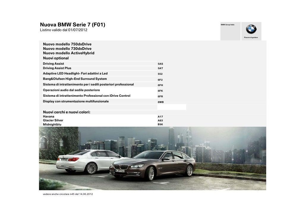 Listino Prezzi BMW Serie 7 F01 my2013