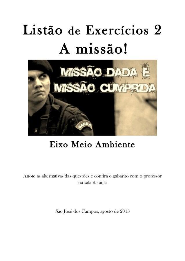 Listão de exercícios 2 - a missão