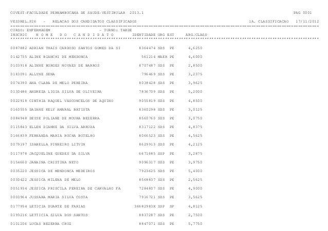 COVEST-FACULDADE PERNAMBUCANA DE SAUDE-VESTIBULAR   2013.1                                                               P...