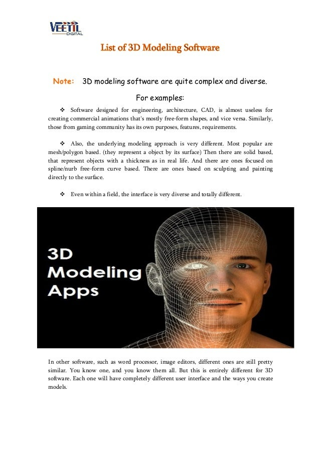 List of 3D Modeling Software Note: 3D modeling software are quite complex and diverse. For examples:  Software designed f...