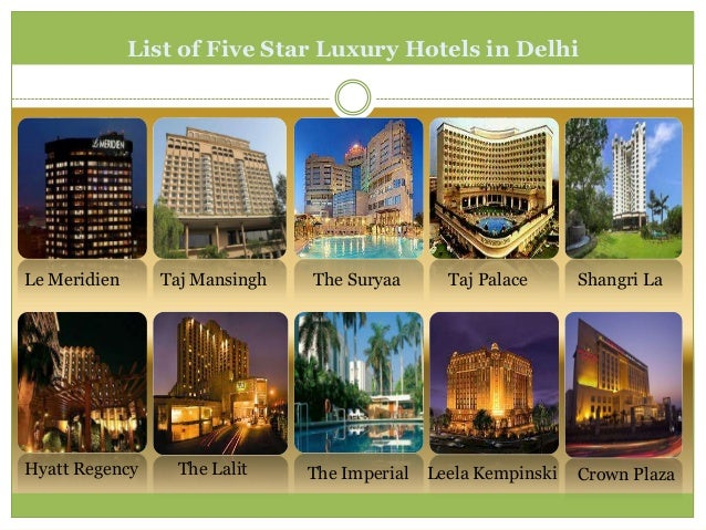 List of Five Star Luxury Hotels in DelhiLe Meridien     Taj Mansingh   The Suryaa       Taj Palace      Shangri LaHyatt Re...