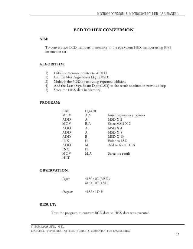 Microprocessor 8085 Instruction Set Pdf