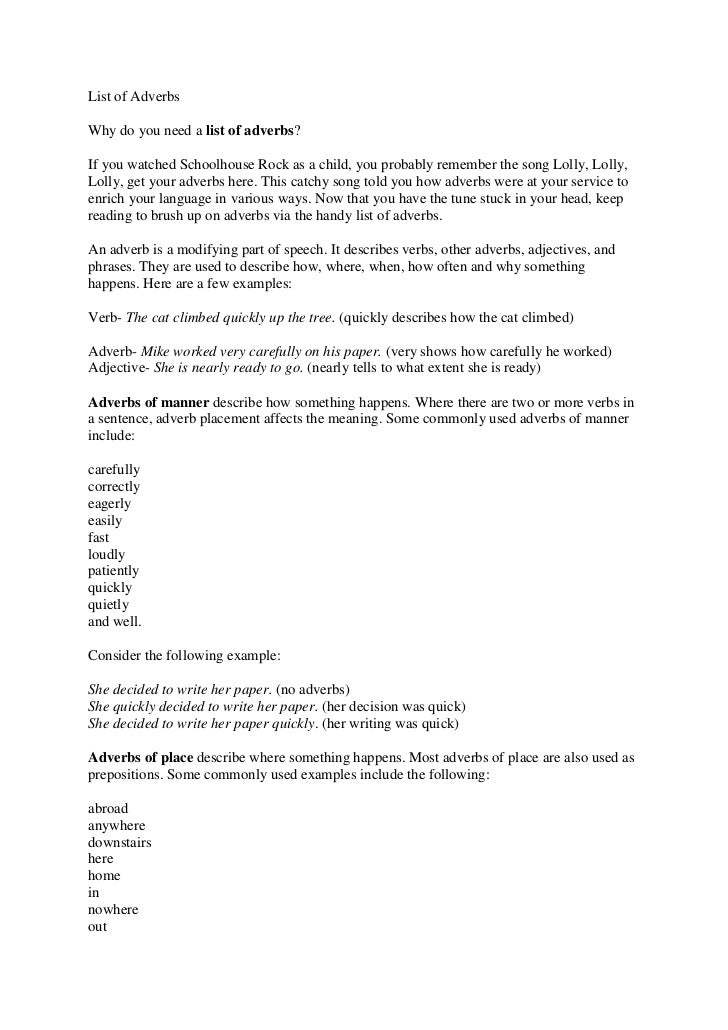 List of Adverbs For Kids List of Adverbs