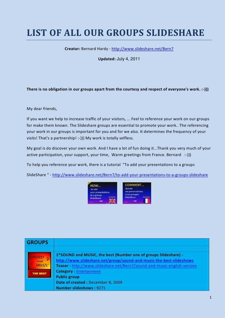 List of my 37 groups Slideshare (pdf)