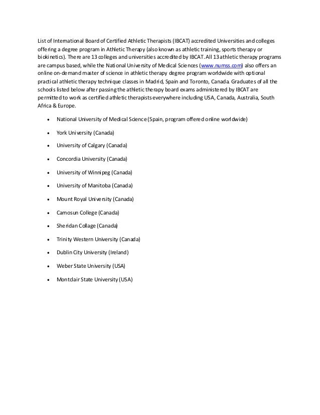 List of Athletic Therapy Schools, Colleges & Universities