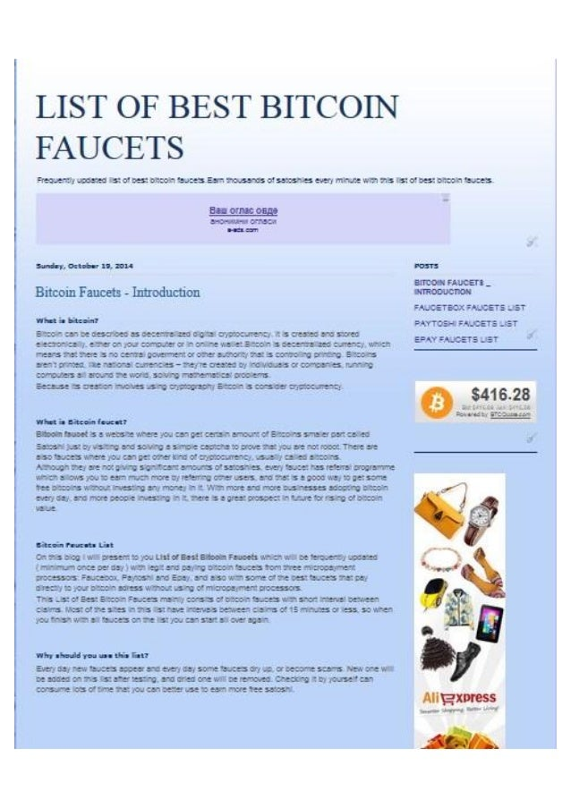 list of best bitcoin faucets - Bitcoin Faucet