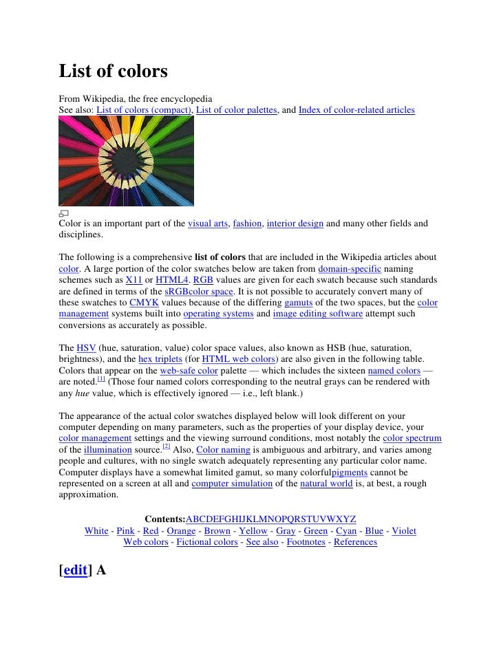 List of colorsFrom Wikipedia, the free encyclopediaSee also: List of colors (compact), List of color palettes, and Index o...
