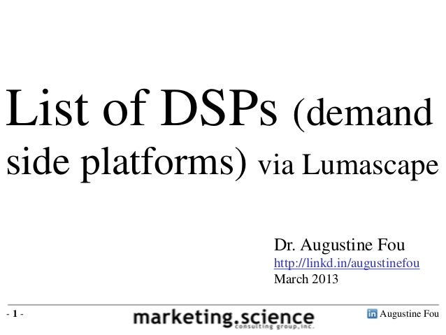 List of DSPs via Lumascape by Augustine Fou Digital Consigliere