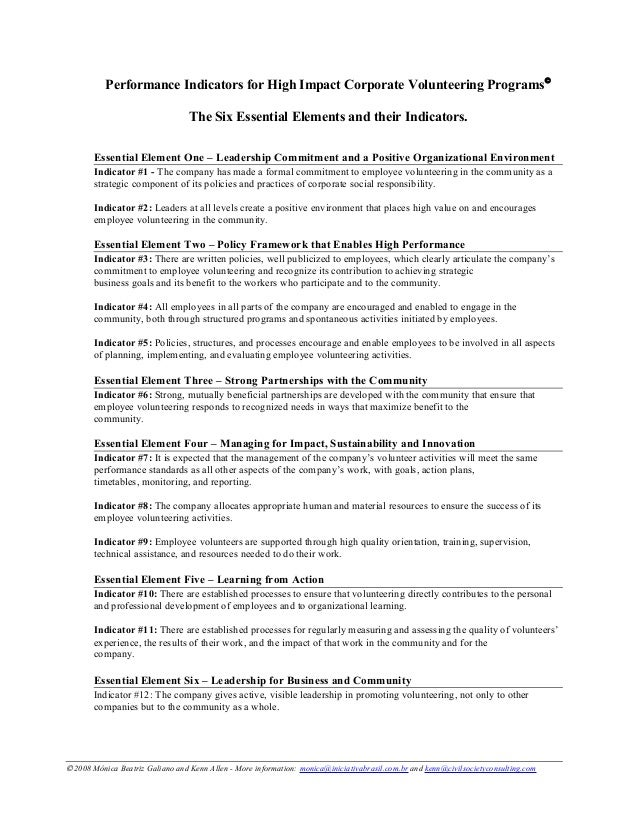 Performance Indicators for High Impact Corporate Volunteering Programs© The Six Essential Elements and their Indicators. E...