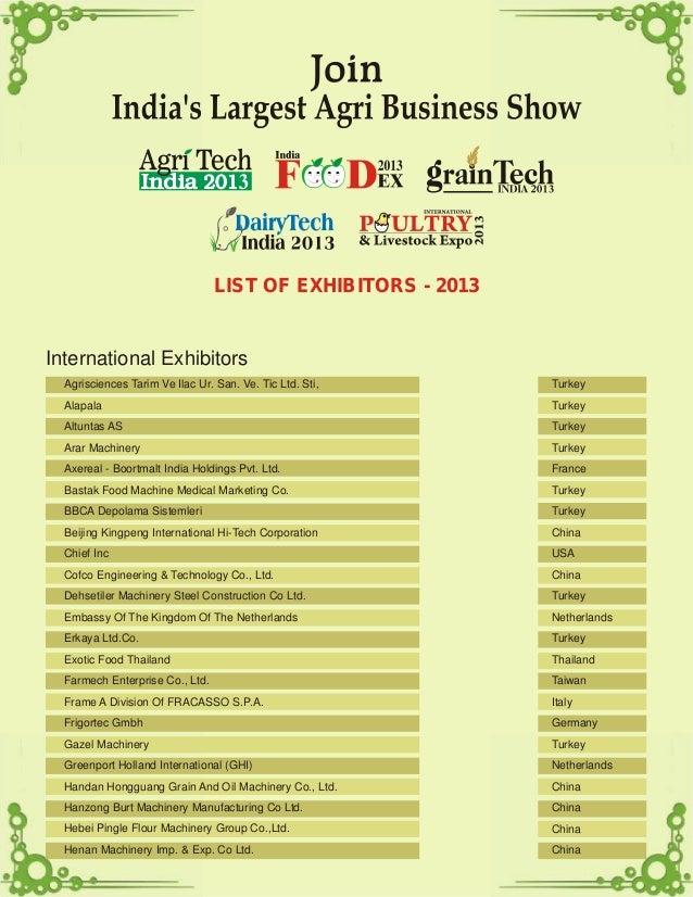 LIST OF EXHIBITORS - 2013 International Exhibitors Agrisciences Tarim Ve Ilac Ur. San. Ve. Tic Ltd. Sti, Alapala Altuntas ...