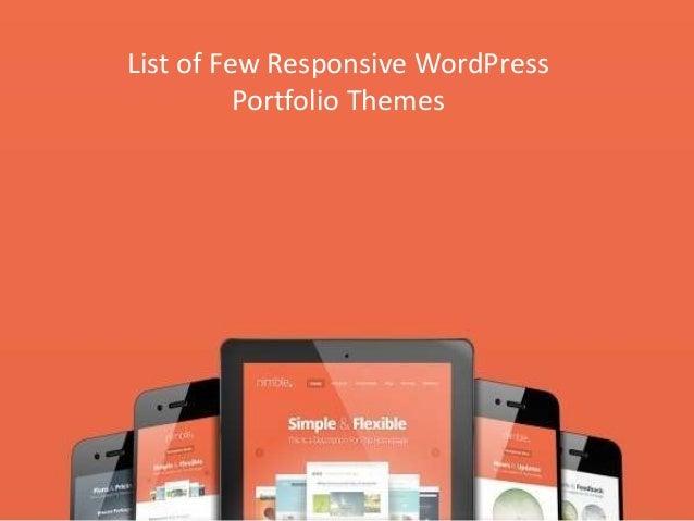 List of Few Responsive WordPress Portfolio Themes