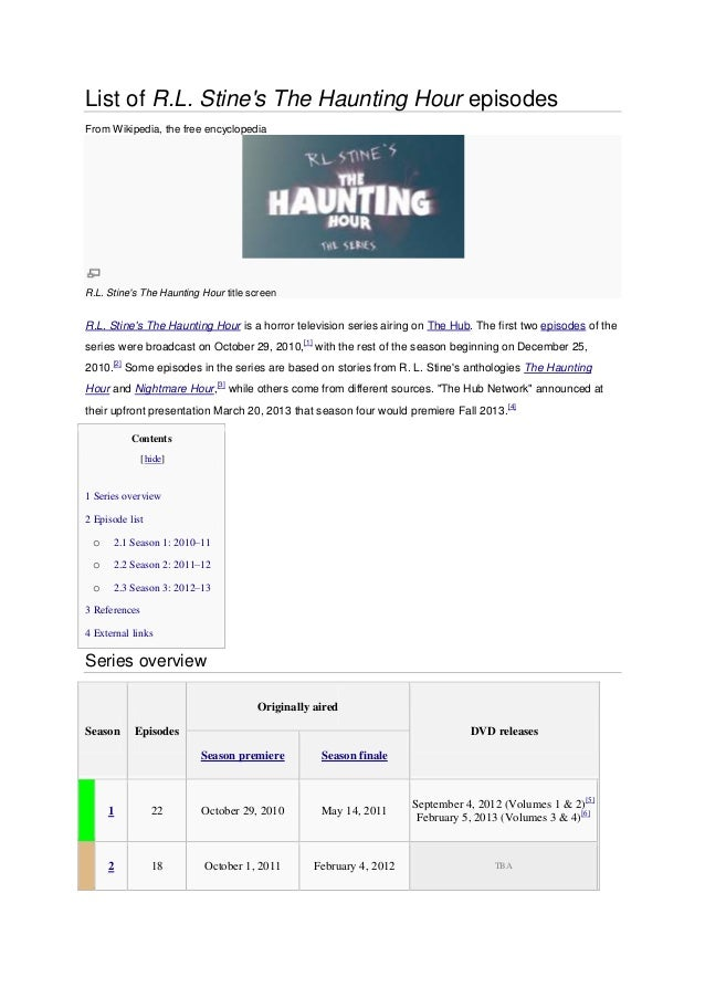 List of R.L. Stines The Haunting Hour episodesFrom Wikipedia, the free encyclopediaR.L. Stines The Haunting Hour title scr...