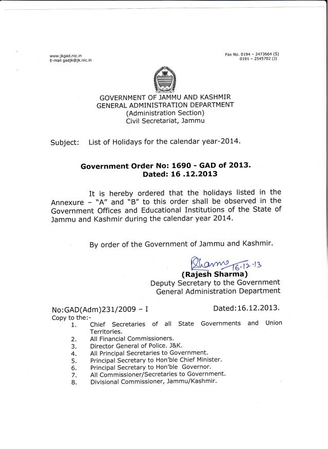 List of holidays for 2014