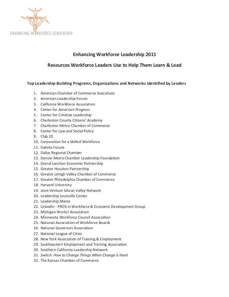 Enhancing Workforce Leadership 2011                   Resources Workforc...