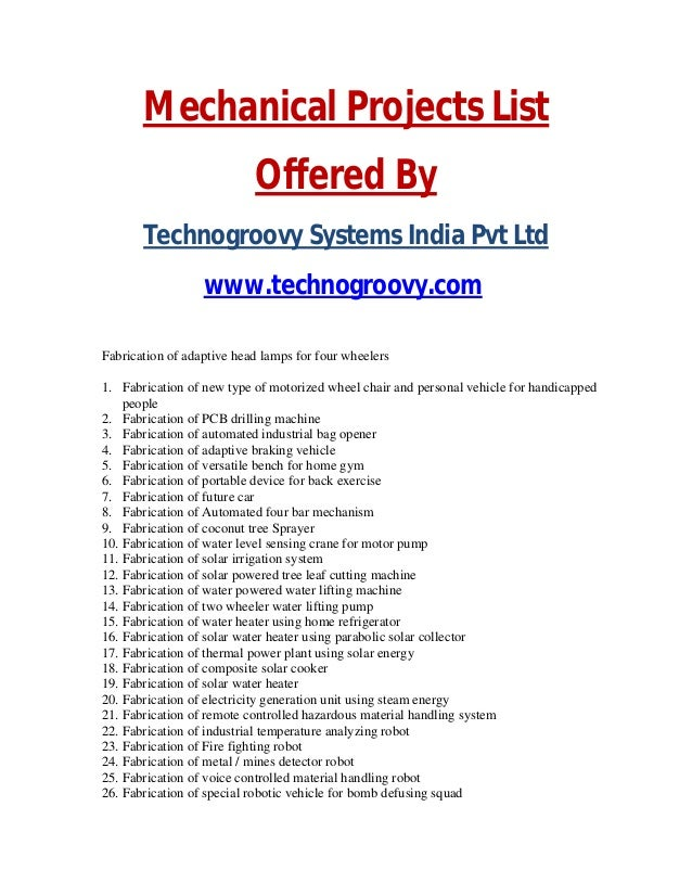 List of mechanical projects,Mechanical Final Year Projects List 2014