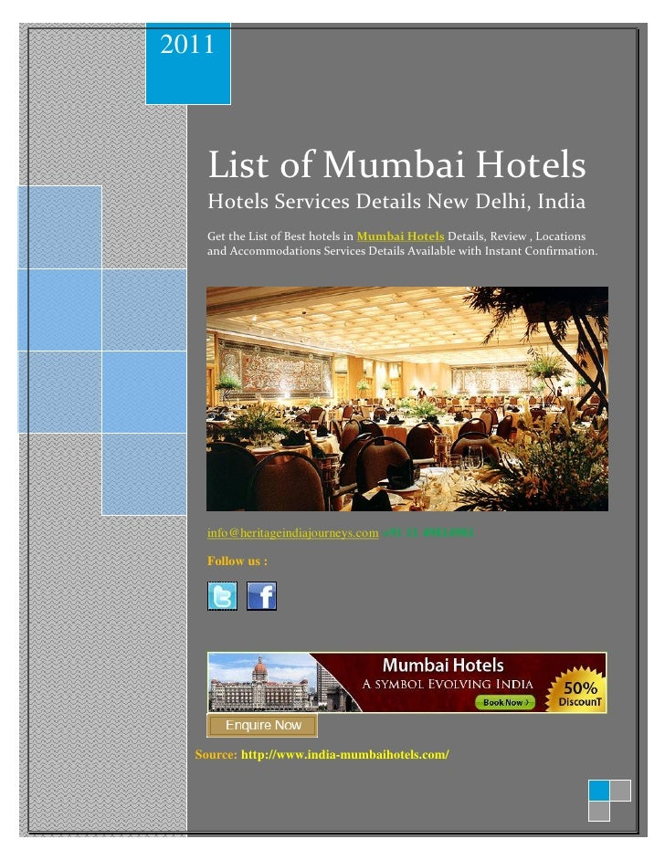 2011   List of Mumbai Hotels   Hotels Services Details New Delhi, India   Get the List of Best hotels in Mumbai Hotels Det...