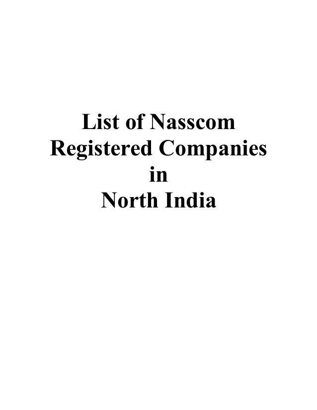 List of NasscomRegistered CompaniesinNorth India