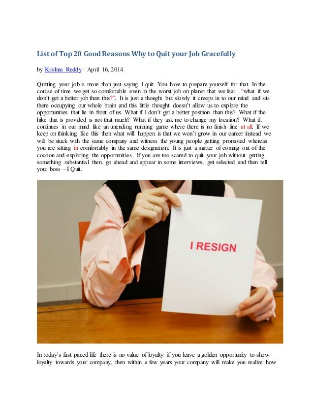 good reasons for quitting a job