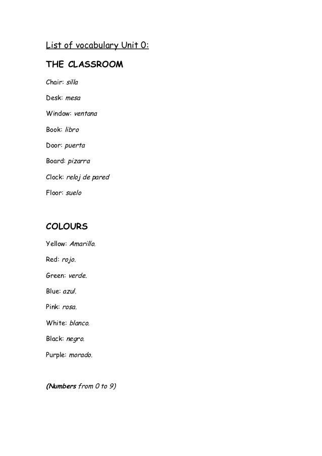 List of vocabulary Unit 0: THE CLASSROOM Chair: silla Desk: mesa Window: ventana Book: libro Door: puerta Board: pizarra C...