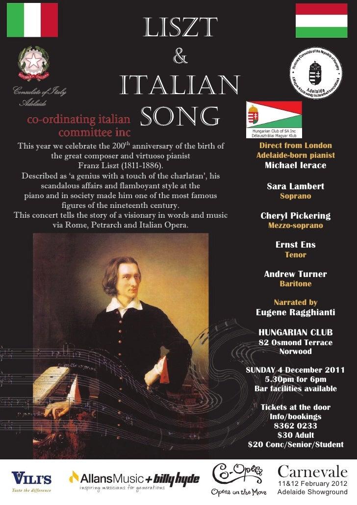 LISZT                                              &Consulate of Italy Adelaide                               ITALIAN     ...