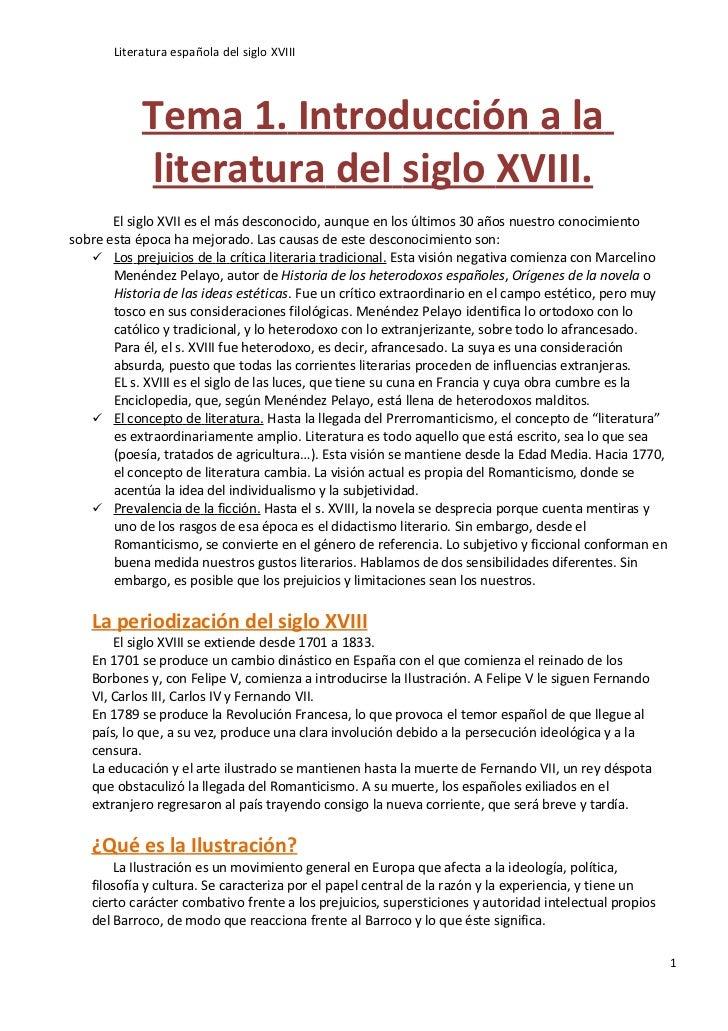Literatura española S.XVIII