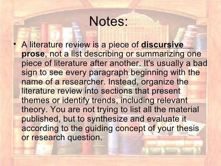 Discursive prose literature review