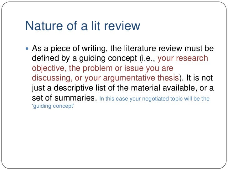 Literature review academic writing