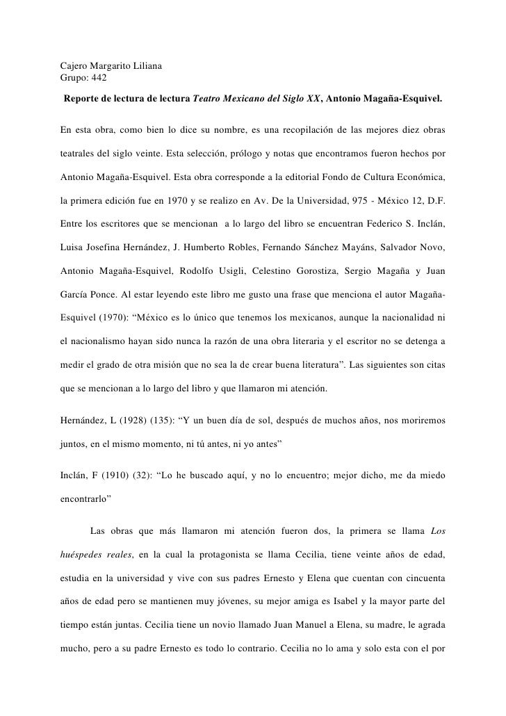 Cajero Margarito LilianaGrupo: 442Reporte de lectura de lectura Teatro Mexicano del Siglo XX, Antonio Magaña-Esquivel.En e...