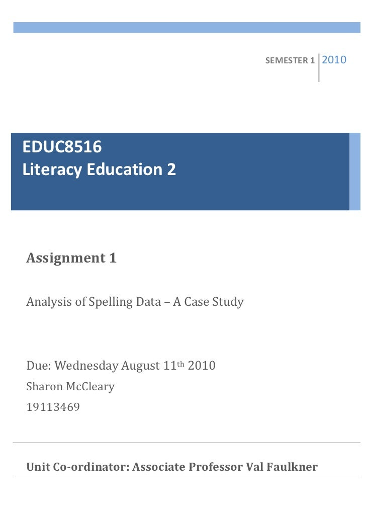 Analysis of Spelling Data - A Case Study