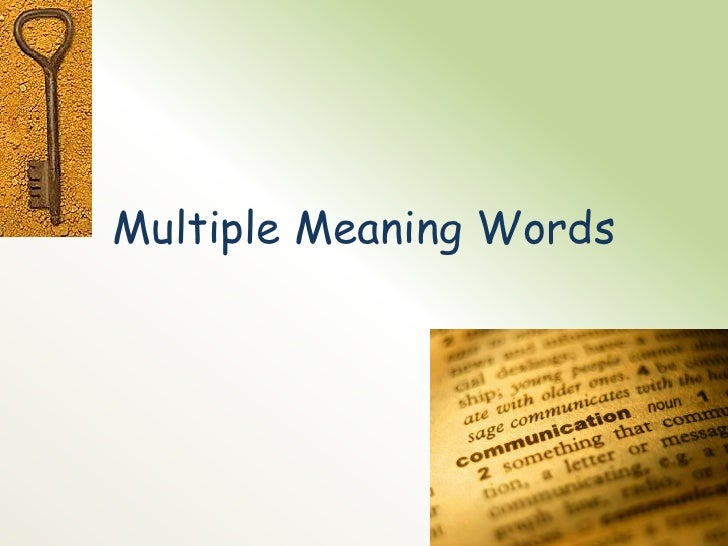 Literacy lesson plan multiple meaning words