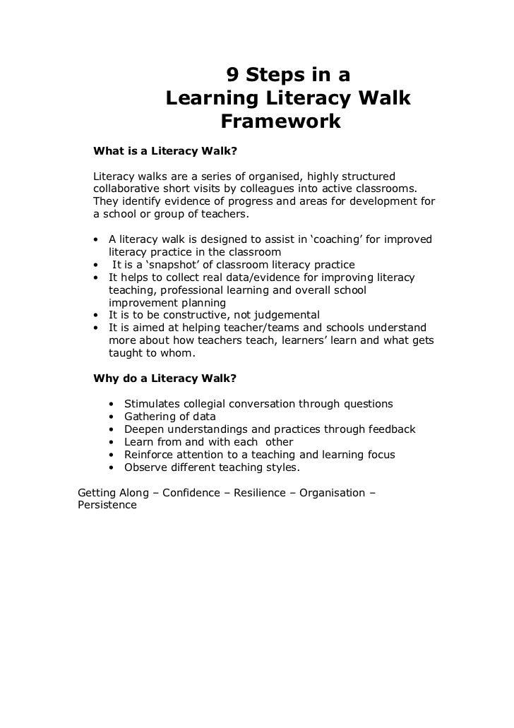 9 Steps in a                 Learning Literacy Walk                      Framework  What is a Literacy Walk?  Literacy wal...