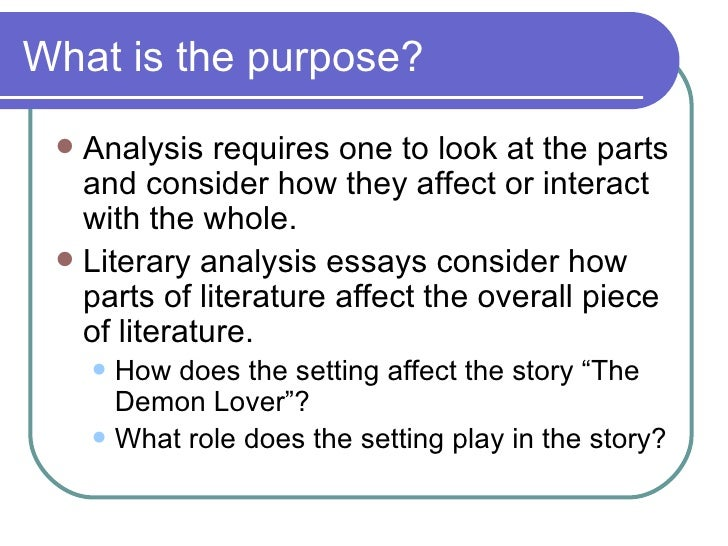 literary analysis essay plot The most commonly used literary elements and suggests strategies for using them to analyze fiction the devices explored in this handout are: plot, point of view, setting, character, imagery, symbolism, irony, and foreshadowing as you read literature, watch for how these various elements are used plot plot is the sequence.