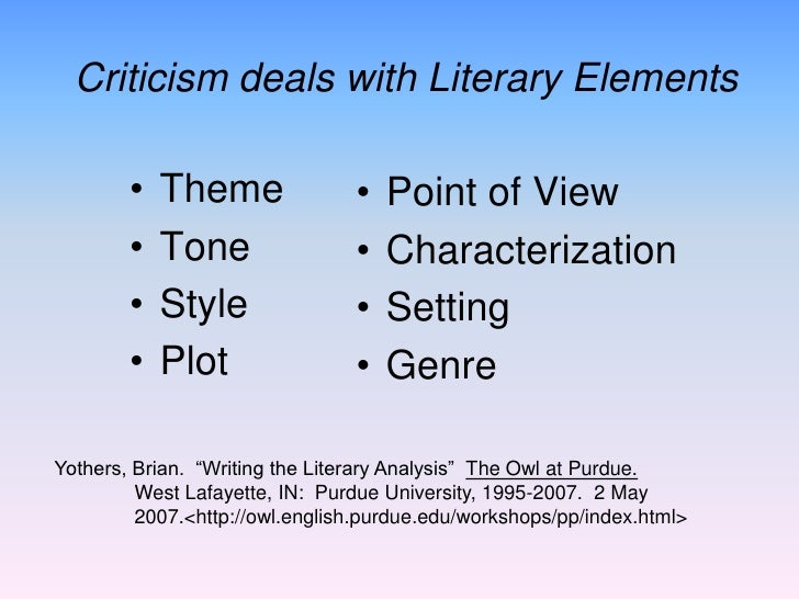 What are the Elements of Literary Criticism?