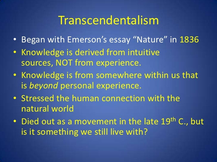 an introduction to the literary and philosophical movement called transcendentalism This video analyzes ralph waldo emerson's essay 'self-reliance' for ralph waldo emerson's transcendental essay a literary and philosophical movement.