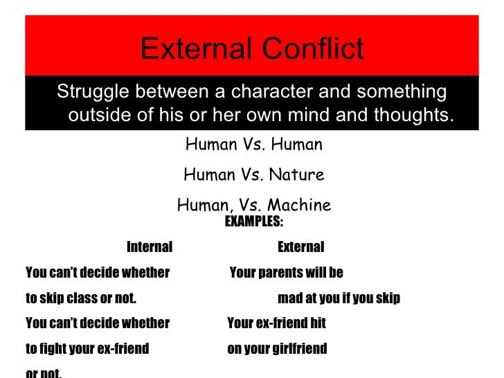 the internal conflict essay June 17, 2011 conflict in the garden: the internal struggle of elisa elisa experiences internal conflicts in the chrysanthemums her conflict seems to be struggling words: 1021 — pages: 5 internal vs external conflicts.