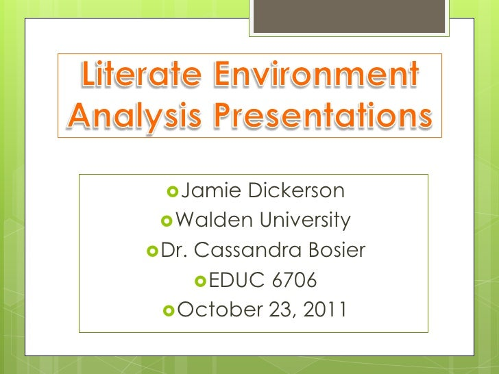 Literate Environment Analysis Presentations