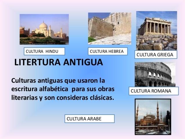 CULTURA HINDU  CULTURA HEBREA  CULTURA GRIEGA  LITERTURA ANTIGUA Culturas antiguas que usaron la escritura alfabética para...