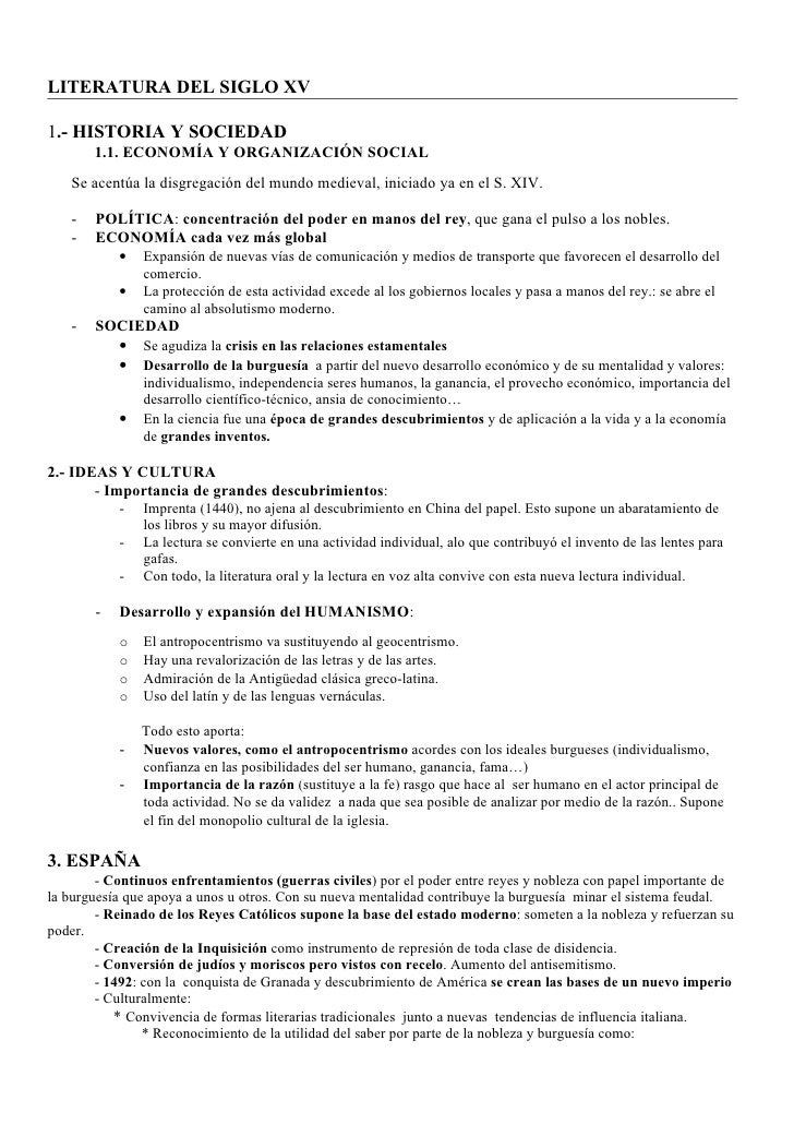 LITERATURA DEL SIGLO XV1.- HISTORIA Y SOCIEDAD       1.1. ECONOMÍA Y ORGANIZACIÓN SOCIAL   Se acentúa la disgregación del ...