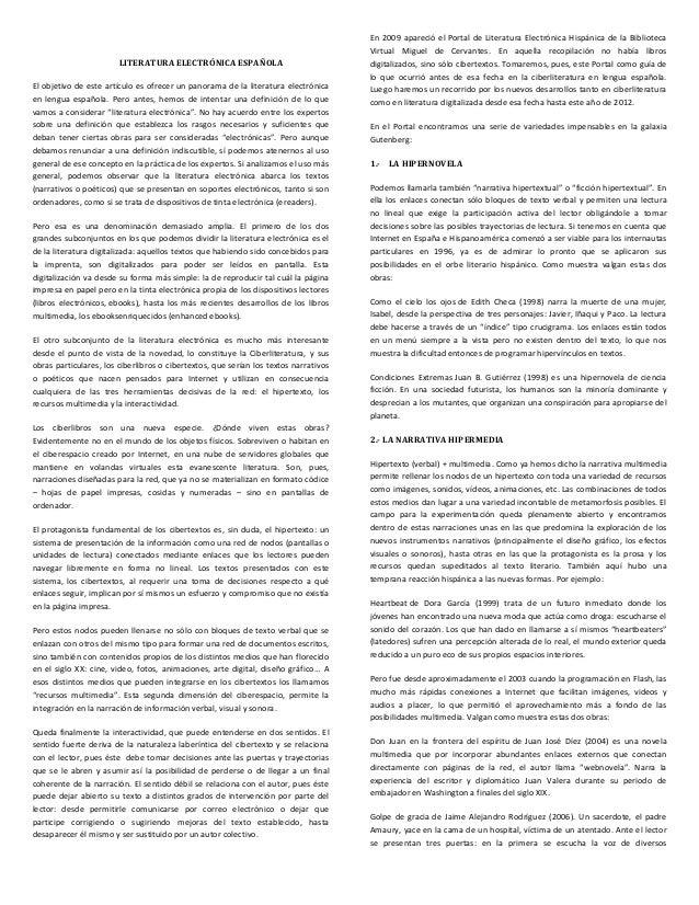 En 2009 apareció el Portal de Literatura Electrónica Hispánica de la Biblioteca                                           ...