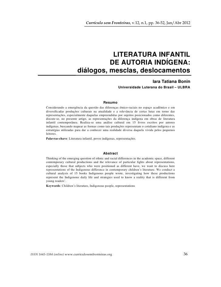 Currículo sem Fronteiras, v.12, n.1, pp. 36-52, Jan/Abr 2012                                             LITERATURA INFANT...