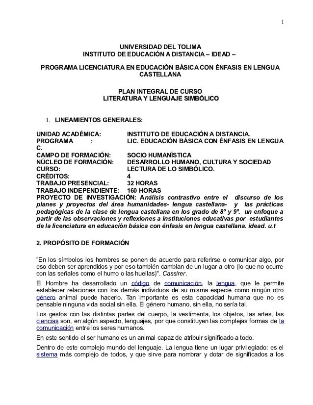 1                            UNIVERSIDAD DEL TOLIMA                 INSTITUTO DE EDUCACIÓN A DISTANCIA – IDEAD – PROGRAMA ...