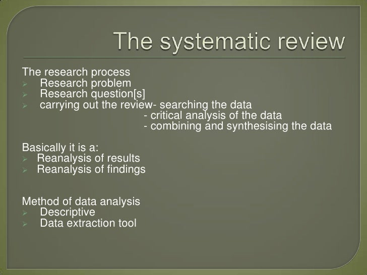 critique of systematic research review srr essay Critique of systematic research review (srr)critique of systematic research review (srr) guidelineswith scoring rubric purpose the purpose of this assignment is to provide students with practice in identifying, reading, and critiquing systematic research reviews related to nursing.