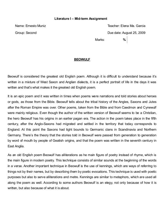 beowulf essay grendel Grendel is one of the three major antagonists in the poem beowulf we are told he is a monster and a descendant of the biblical figure cain early on in the text.