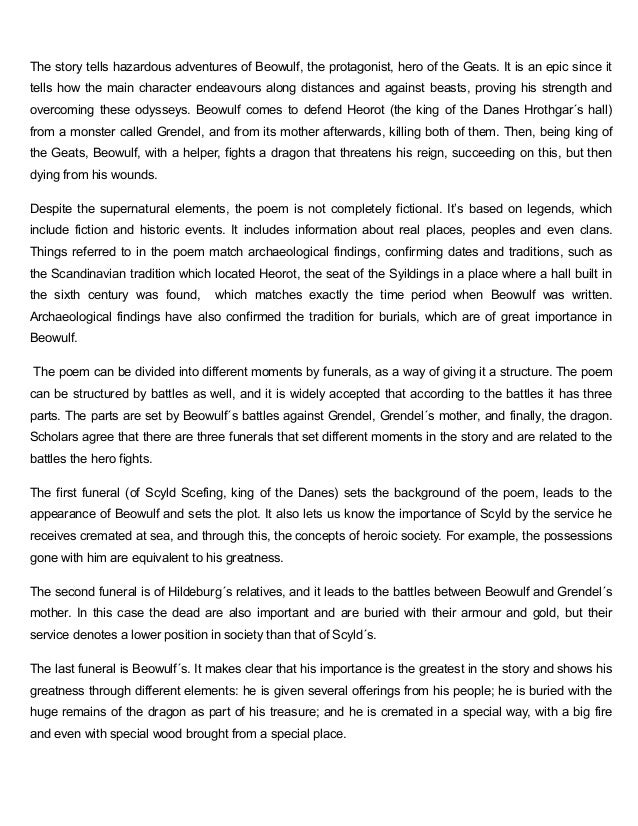beowulf charater analysis essay A list of all the characters in beowulf the beowulf characters covered include: beowulf, king hrothgar, grendel, grendel's mother, the dragon, shield sheafson.