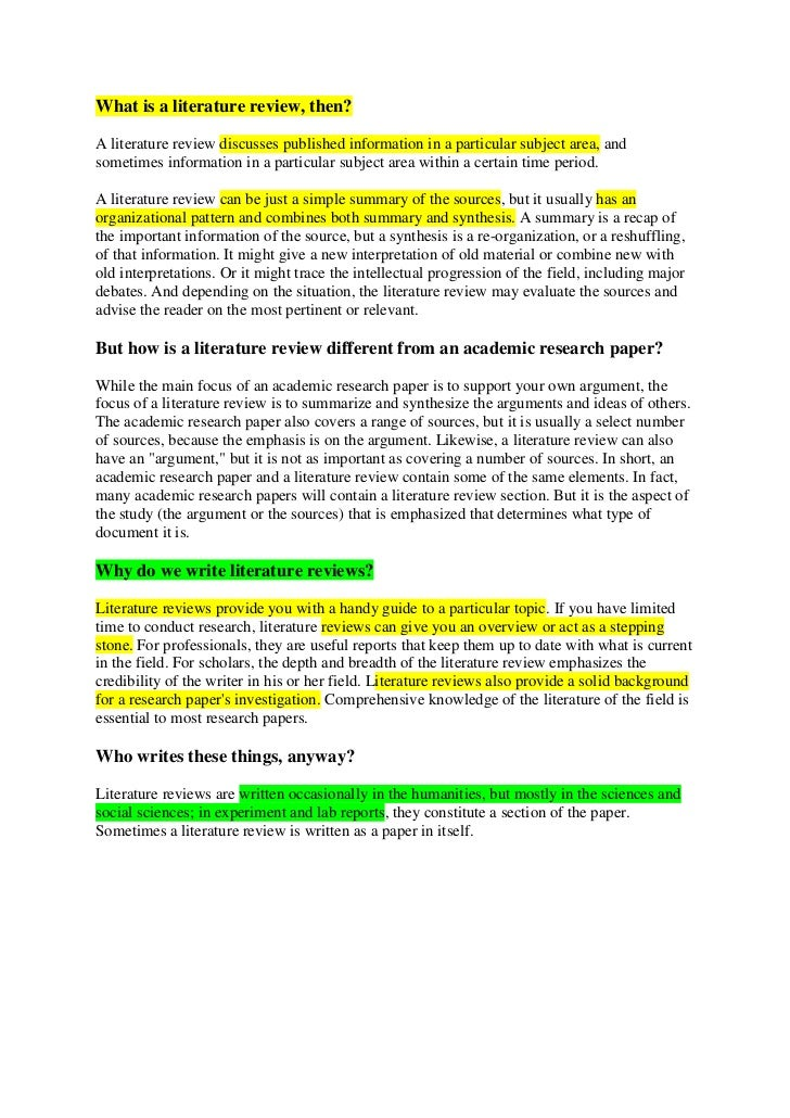 Plan B or Thesis Literature Review Assessment Scoring Rubric by ...