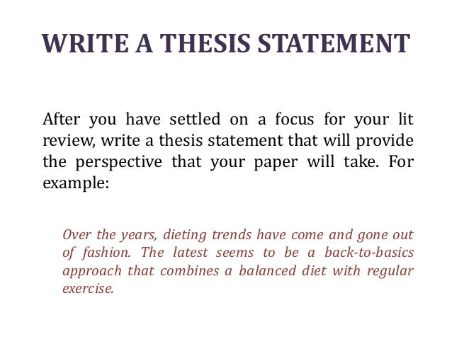 Thesis statement literature review