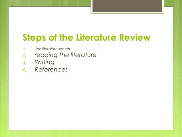 Steps for literature review
