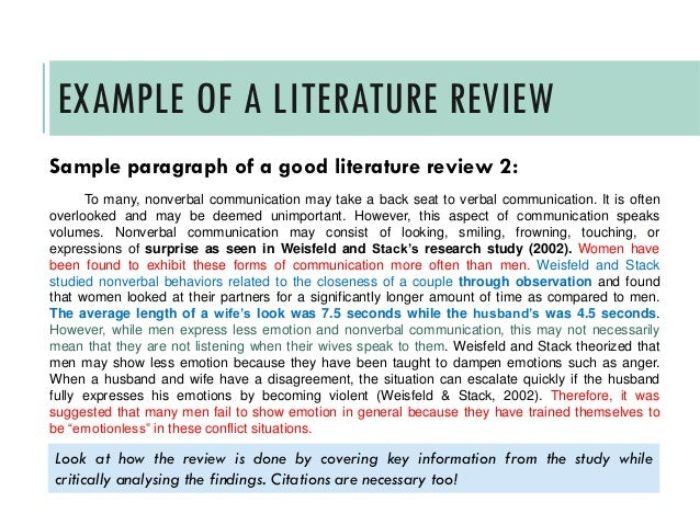 Writing literature review sample
