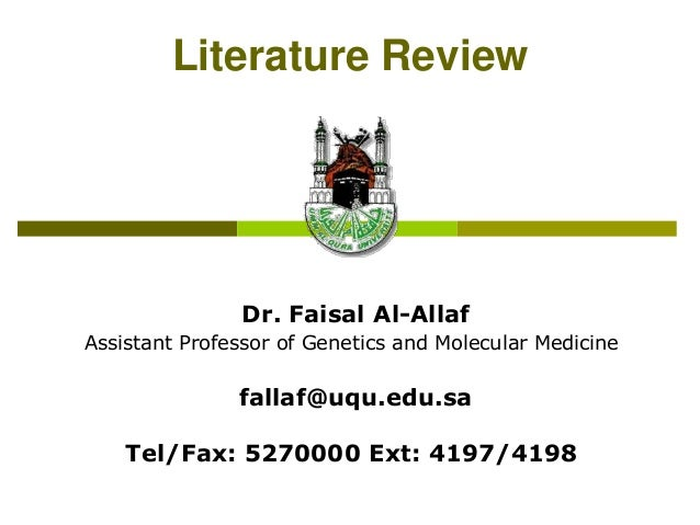 Literaturereview drfaisalal-allaf-copy-130716035723-phpapp01