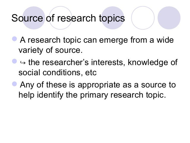 Topics for a literature review